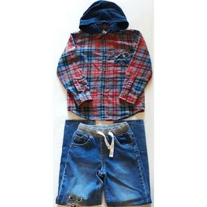 Garanimals Boy's Flannel Hoodie & Jeans
